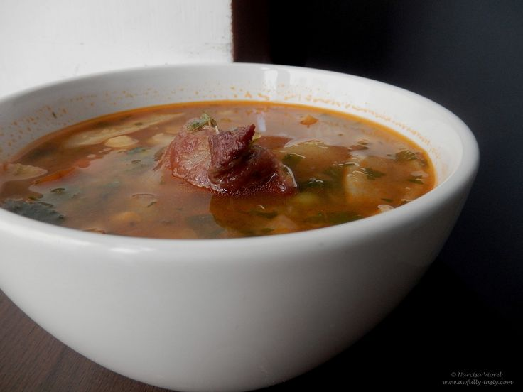 Ciorba de porc cu legume si leustean.  Pork, vegetables and lovage broth. So yummy!