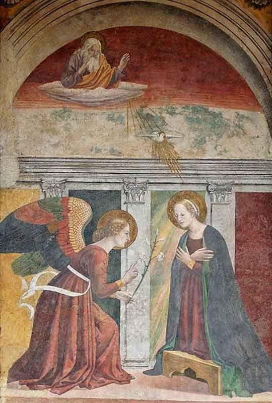 Благовещение, приписываемое Мелоццо да Форли. Пантеон. Рим. Италия Фреска расположена в седьмой капелле Пантеона.