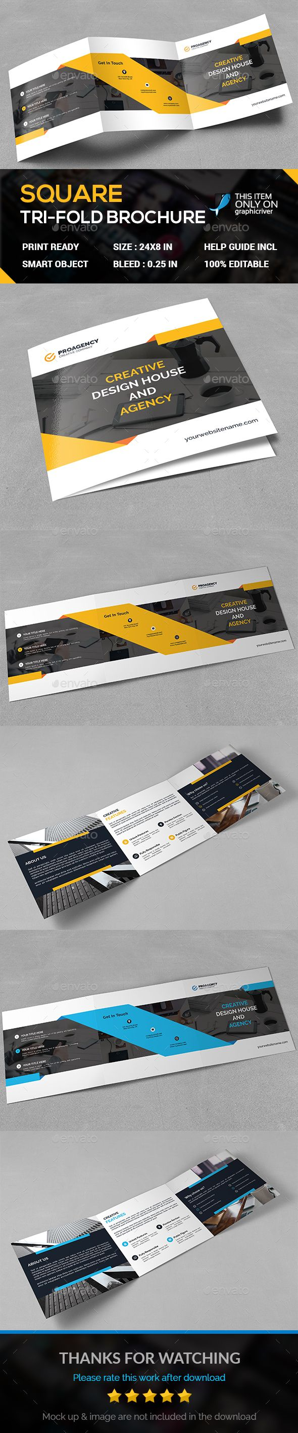 Square Tri-Fold Brochure Template PSD. Download here: http://graphicriver.net/item/square-trifold/15827340?ref=ksioks