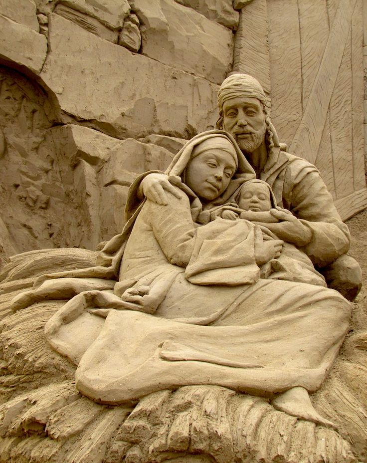 Sand sculpted nativity in Jesolo, Italy.
