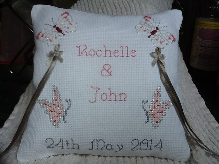 Personalised cross stitch Ring Cushion for Wedding