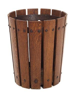 """200. Gustav Stickley wastebasket, #94, slatted tapered form riveted to interior iron hoops, fine original finish, signed with paper label, 12""""dia. x 14""""h, excellent condition 2000-2500"""