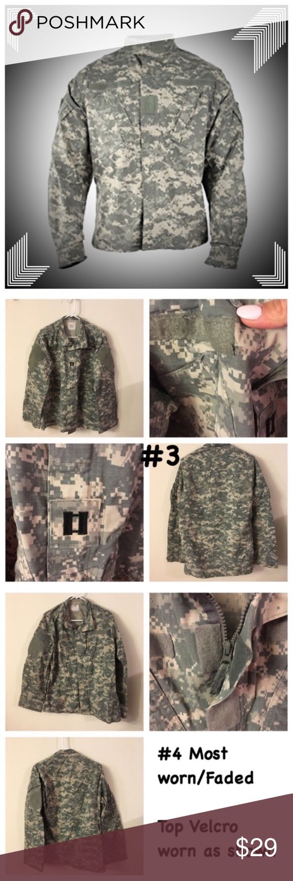 Army Combat Uniform ACU Medium-Long ❤Same day shipping (excluding Sun/holidays or orders placed after P.O. Closed)  PRICE FIRM unless bundled. ❤  Price is for 1 top! Size Medium Long Army Combat Uniform Tops. Each photo is front/back of each separate Top. Gender neutral uniforms. Normal wear from use but free from holes/stains (Except #3 has a small hole where name tape was removed). Smoke/pet free home. Some of the labels have writing. My husband had a system to keep tops/bottoms together…