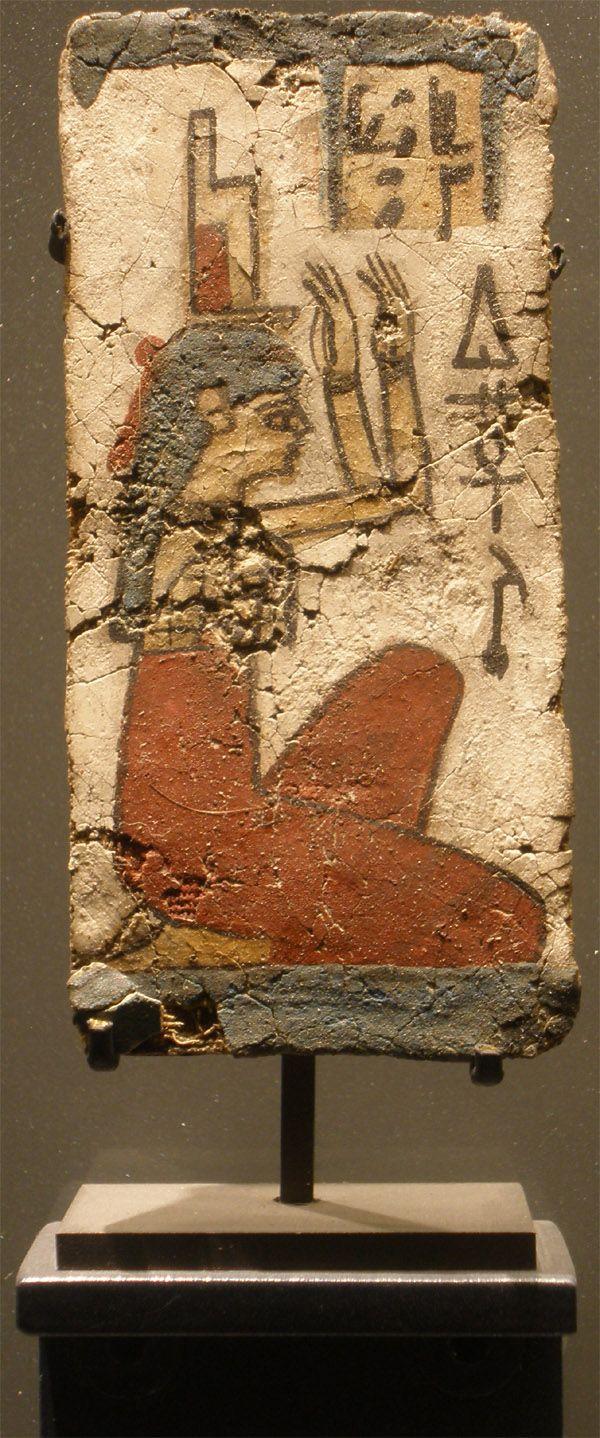 Djéhouty Morceau de cerceuil avec ISIS pleurant. Epoque ptolémaïque 332-30 av. J.-C.
