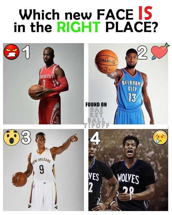 Retweet Comment or React which new face is in the right place. 1) Chris Paul 2)Paul George 3)Rajon Rondo 4)Jimmy Butler My order is 4213