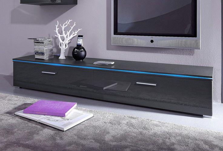 Fernseh-Lowboard grau, 120 cm, Hochglanz, yourhome | Wohnzimmer > Schränke > Lowboards | Grau - Weiß | yourhome
