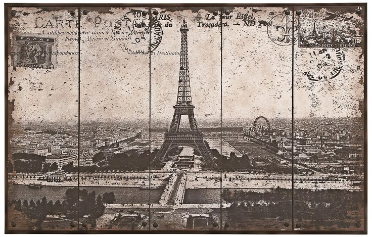"Eiffel Tower Postcard Print 48"" Wide Metal Wall Art"
