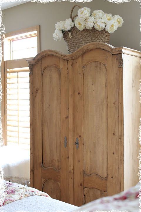 French Armoire With Sweet Basket Of Flowers On Top · Rustic FurnitureAntique  Pine FurniturePine Bedroom FurnitureBare ...