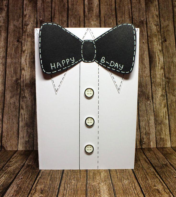 Мужская открытка в стиле чисто и просто на день рождения скрапбукинг костюм кас clean and simple scrapbooking birthday card handmade by hamster-sensey