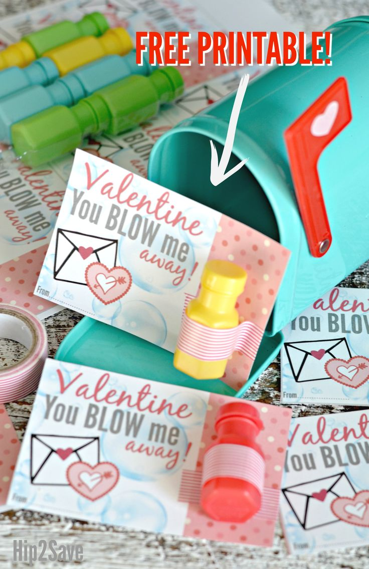 "Mini Bubbles ""You Blow Me Away!"" FREE Printable Valentine's Day Idea – Hip2Save"