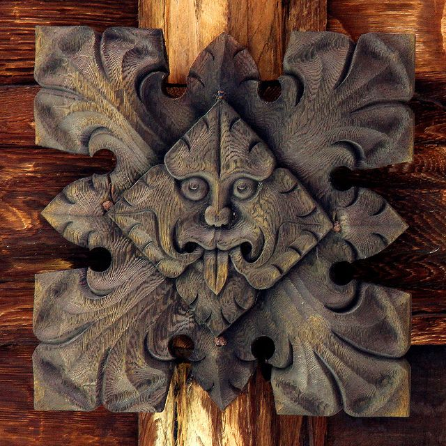 Durham cathedral cloisters - carved wooden roof detail - 'the green man' (photo by Missusdoubleyou, via Flickr)