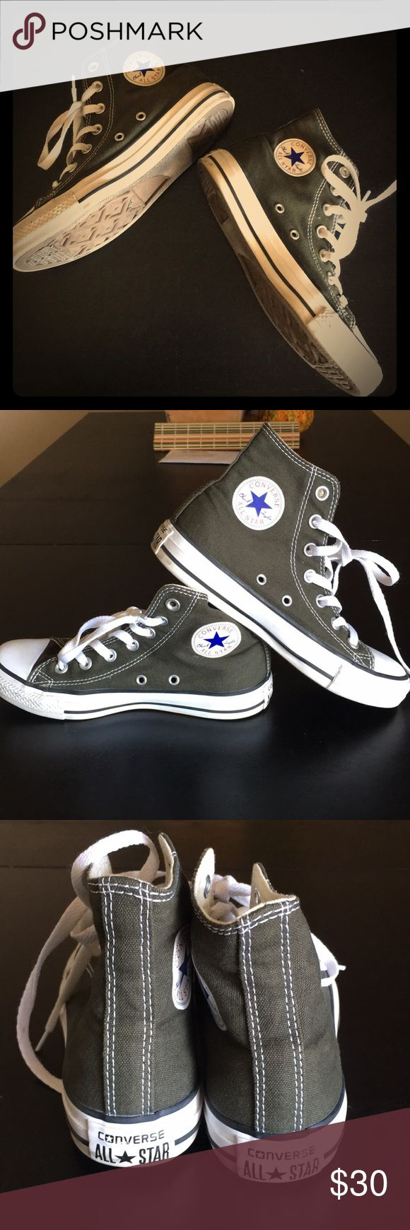 """Olive Green High Top Chuck Taylors Barely worn olive green high top Chucks! I believe this color is actually """"Asparagus""""😂very comfy, only worn a handful of times, a perfect color for fall! Converse Shoes Sneakers"""