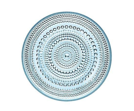 Piatto piano in vetro smerigliato Kastehelmi azzurro - d 17 cm