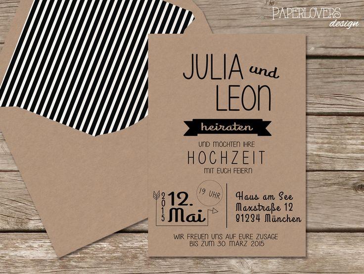 Hochzeitseinladung Arrow Kraftpapier von PaperLoversDesign auf DaWanda.com