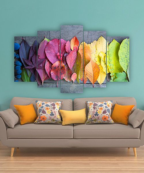 Look what I found on #zulily! Rainbow Leaves Five-Panel Wall Art by Carsberg Home #zulilyfinds