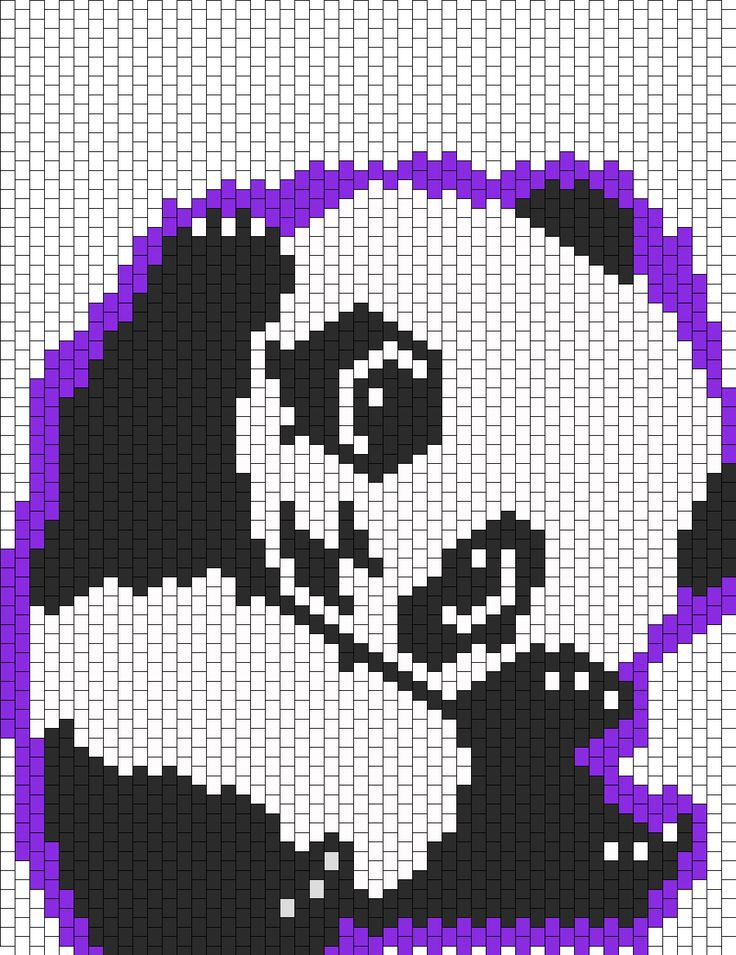DIY a Adorable Panda And Purple Background Perler Hama Beads Pattern at Kandi Patterns From Creatures_Rawr