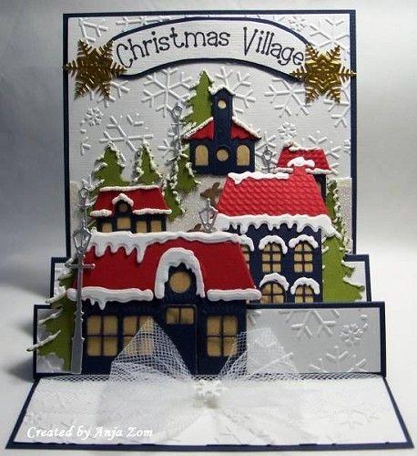 Christmas Village. Voorbeeldkaart - Ook voor de demo - Categorie: Scrapkaarten - Hobbyjournaal uw hobby website