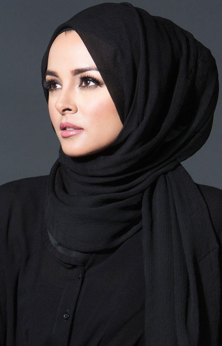 Aab UK Chiffon Chic Black Luxury Hijab : Standard view ...