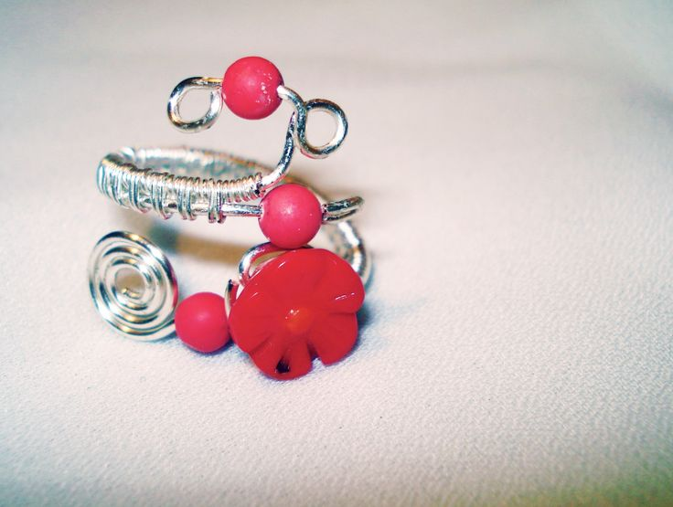 Wire Ring With Coral Flower by IALINA