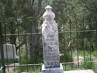"""John Henry """"Doc"""" Holliday (August 14, 1851 – November 8, 1887) was an American gambler, gunfighter, and dentist ...his involvement in the Gunfight at the O.K. Corral~This is the current headstone for Doc Holliday. As the records of exactly where his body is located within the cemetery were lost, the City of Glenwood Springs erected a headstone that turned out to have the wrong date on it. It was replaced with this more accurate monument-great info here!"""