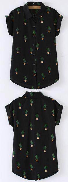 Black Buttons Front Cactus Print Chiffon Blouse