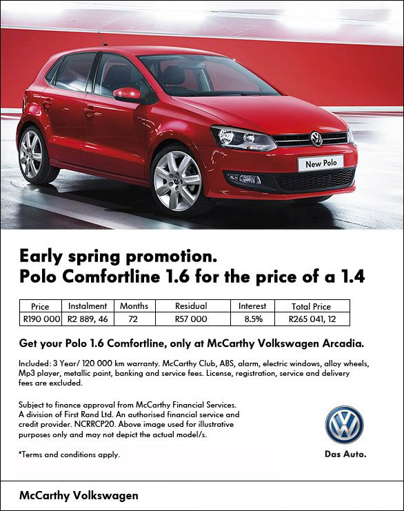 Save R20 200 on a 1.6 #VW #Polo Comfortline normally R210 200, now available at R190 000.
