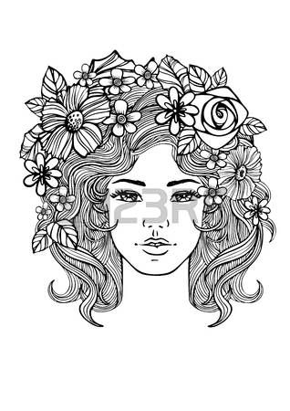 Beautiful woman face and floral pattern. Vector doodle flowers in black and white