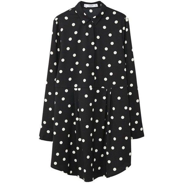 Polka-Dot Dress ($41) ❤ liked on Polyvore featuring dresses, black, long sleeve polka dot dress, ruffle collar dress, long sleeve dress, flutter-sleeve dresses and flounce dress