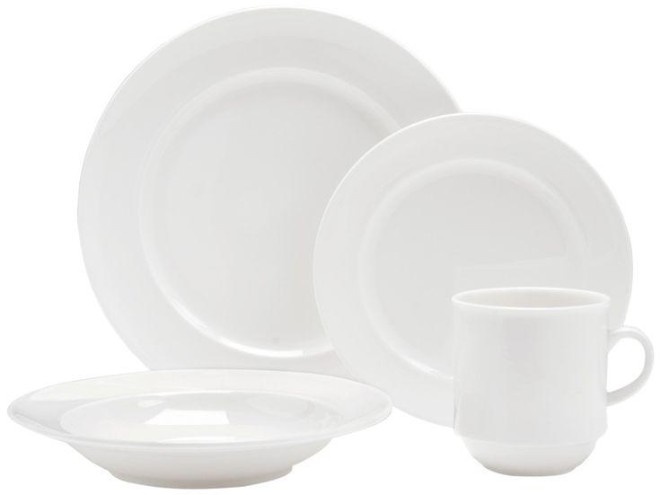 Fortessa Fortaluxe SuperWhite Vitrified China Dinnerware, Cassia 16-Piece Place Setting, Service for 4