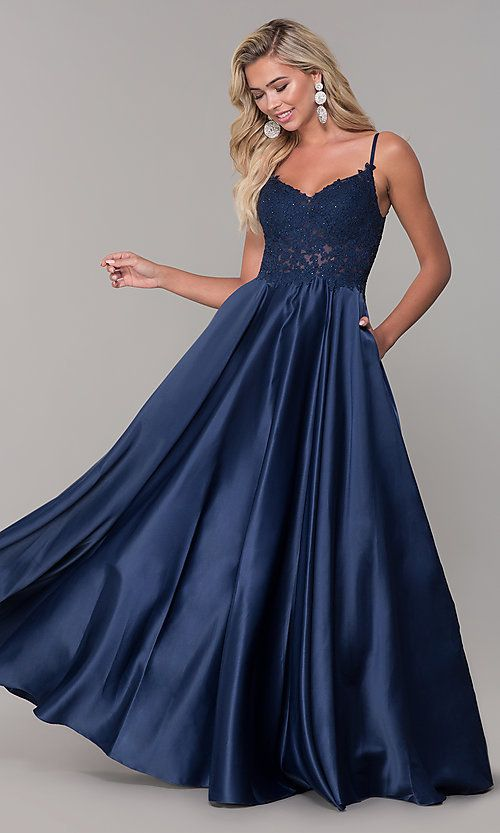 26003509d Long V-Neck Prom Dress with Embroidered Bodice in 2019   prom ...