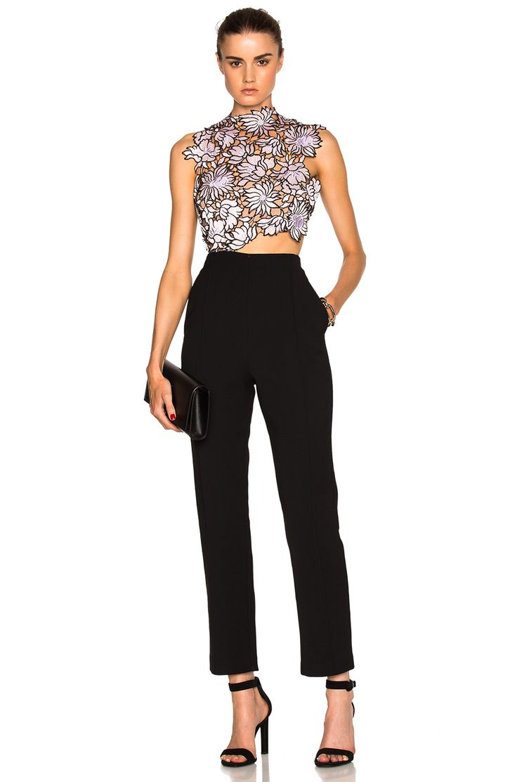 Image 1 of self-portrait Lilac Lace Jumpsuit in Black