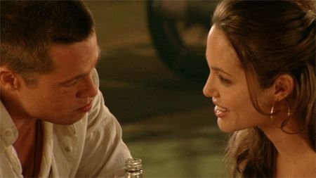 Pin for Later: All the Mr. & Mrs. Smith Moments That Led to Marital Bliss This flirty eye lock.