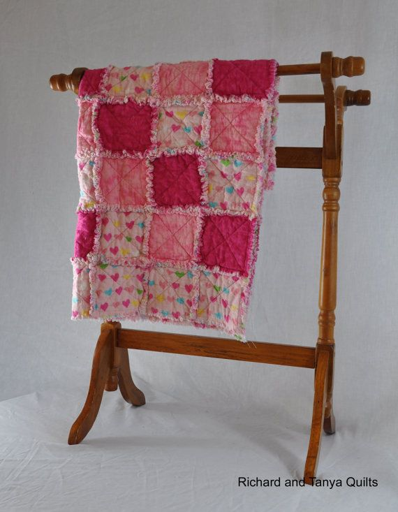 Pink Heart Rag Quilt 34 by 33 inches by RichardQuilts on Etsy
