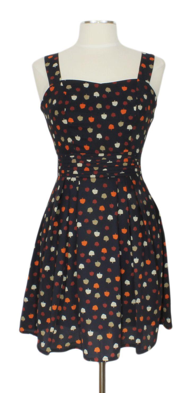 Miss American Pie Dress @ Ever Rose #apples #navyblue #dress #retro