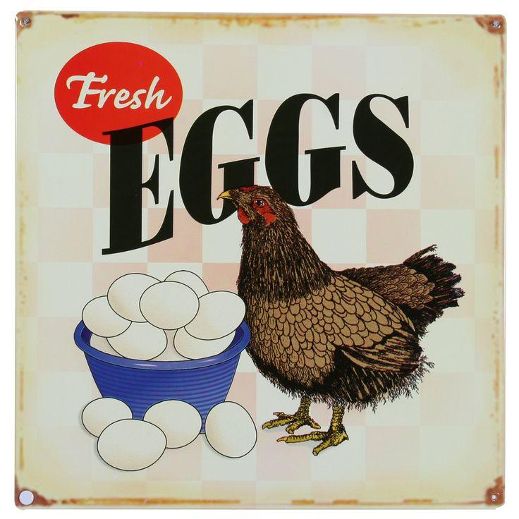 Fresh Eggs Chicken Farm Metal Sign | Country Kitchen Decor | RetroPlanet.com - Item #: 29113    Fresh Eggs Chicken Farm Metal Sign    Price:   $11.89