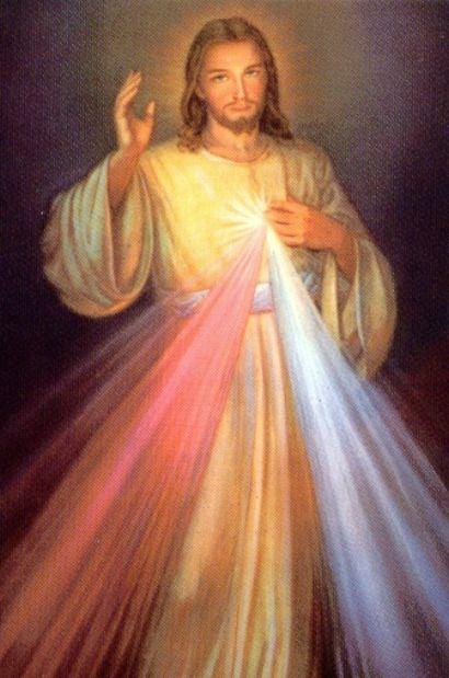 Jesús musericordioso. Esta es una imagen que vio una santa y mandó a pintar, pero se me olvidó el nombre de la santa.