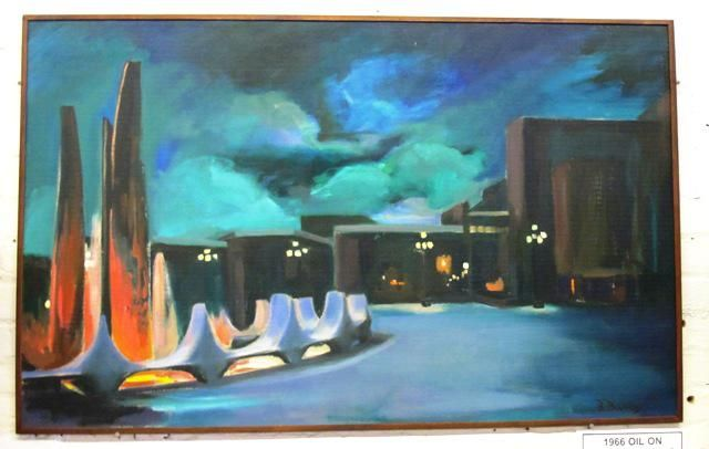 1966 Centennial Square Oil on Board Painting  by local Victoria Artist Barbara Burns  75cm x 121cm   Come and take a look at our ever changing showroom full of furniture, jewellery, tools and muc