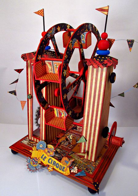 This mind-blowing creation is a working ferris wheel altered with Le Cirque papers by Jim Hankins, the Gentleman Crafter! You must click on this photo to see all the details. It's a little bit unbelievable and completely awesome! #graphic45