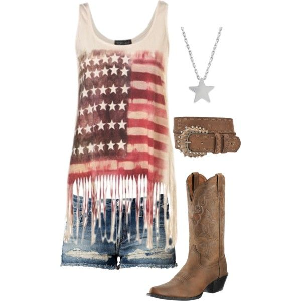 American flag, shorts, summer, cowgirl boots Perfect 4th of July outfit! Add a ball cap or a straw hat and I'd wear it all the time (: