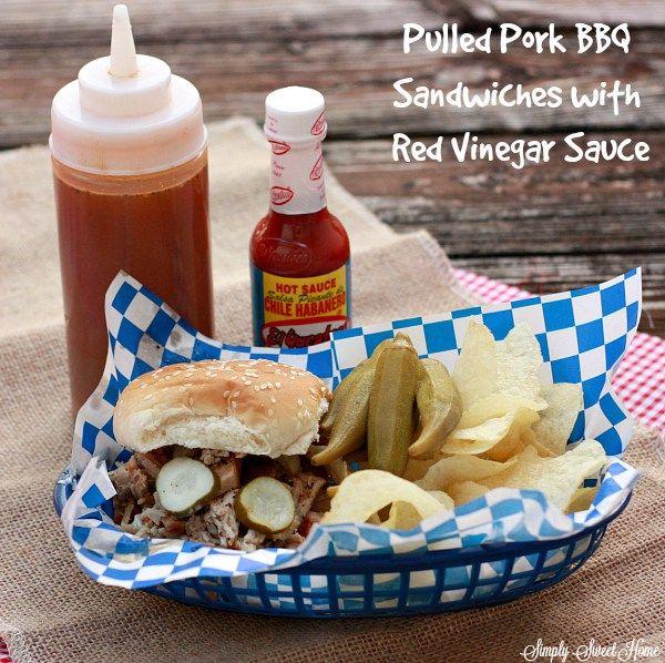 Pulled Pork BBQ Sandwiches with Red Vinegar Sauce