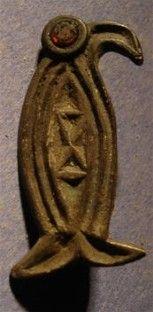 Silver Merovingian Raven brooch   6th Century CE, France