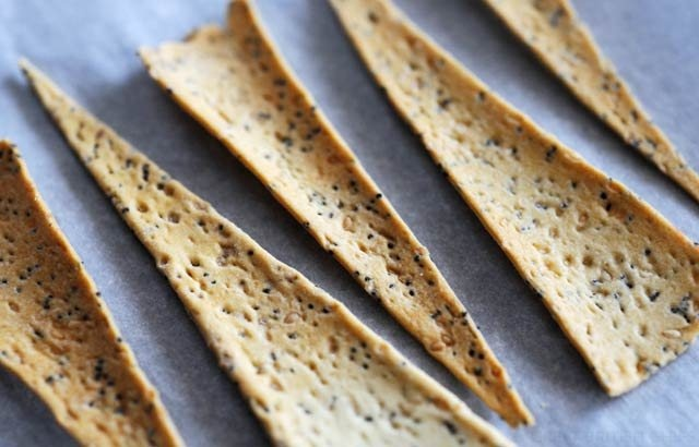 Molded pastry into chinese spoons, edible spoons, filled with cold thai beef salad..yumm....lisa....Thyme Crackers by Nathan Outlaw - use a pasta making attachment to achieve this crisp crackers