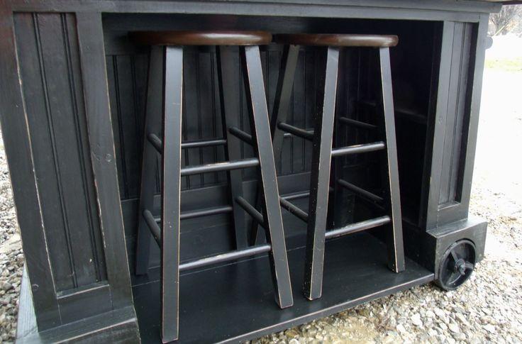 Modern Industrial Kitchen Island with Stool Storage by UrbanWIRX, $1,499.00