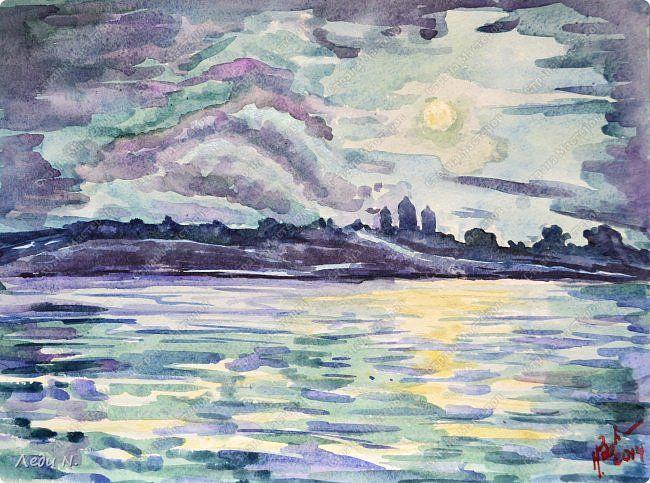 Картина панно рисунок Мастер-класс Урок рисования Рисование и живопись Луна над старым городом Акварель Бумага Карандаш фото 1