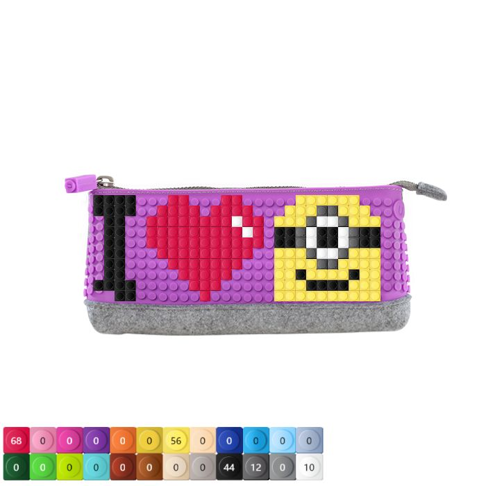 "UPixel Pencil Case with the ""I Love Minions"" with the purple pencil case"