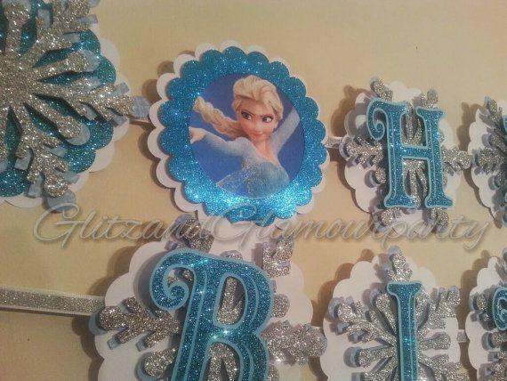 Custom Frozen Birthday Banner by GlitzandGlamourParty on Etsy, $40.00