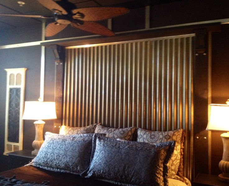 Rustic Headboard With Wood And Corrugated Tin Inlay
