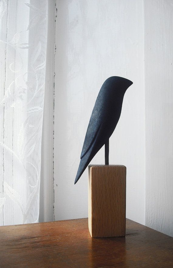 wooden bird sculpture painted bird 6 by thecuriousworkshop