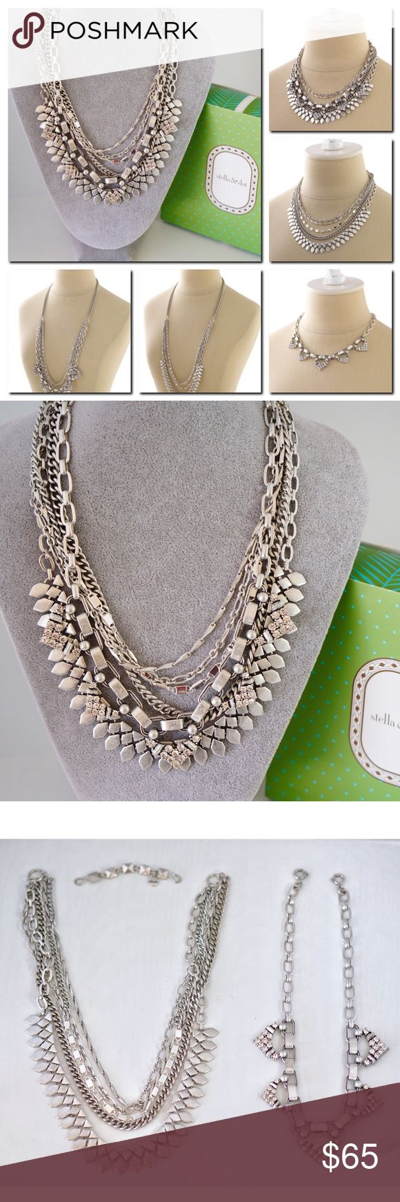 """Stella Dot SUTTON Statement Necklace Silver Layers This Sutton Necklace Silver version is an instant must-have.  Indulge in the five ways to wear our best selling statement necklace: long and loose for a laid-back look, clasped into a statement when you're feeling bold, plus or minus the sparkle strand, or just the sparkle when you're in the mood to shine. Mix of vintage and shiny silver plating. * 15"""" with 3"""" extender for shortest necklace. 31.5""""longest length. * Spring clasp closure with…"""