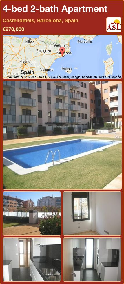 4-bed 2-bath Apartment in Castelldefels, Barcelona, Spain ►€270,000 #PropertyForSaleInSpain